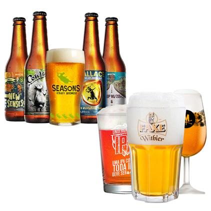 Assinatura Beer Pack - 4 Cervejas e 1 Copo + 3 Taças Grátis (Trimestral)