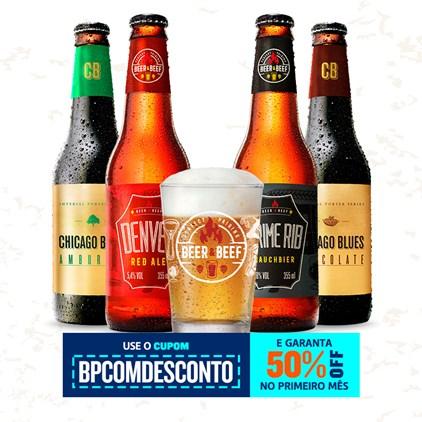 Assinatura Beer Pack - 4 Cervejas e 1 Copo com 50% OFF no Primeiro Mês (Trimestral)