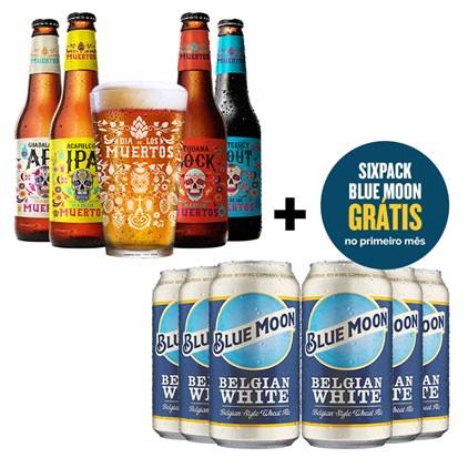 Assinatura Beer Pack 4 Cervejas e 1 Copo + Six Pack de Blue Moon Semestral