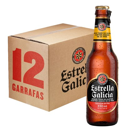 Caixa de Cerveja Estrella Galicia Sem Glúten 330ml c/12un - REVENDA