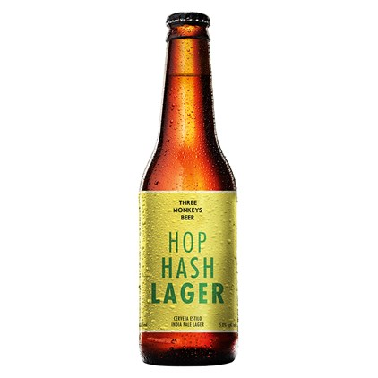 Cerveja Three Monkeys Beer Hop Hash Lager Garrafa 355ml