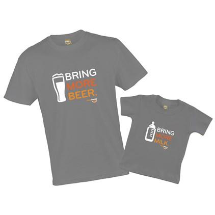 Kit Camiseta Pai e Filho Bring More Beer / Bring More Milk Grafite P